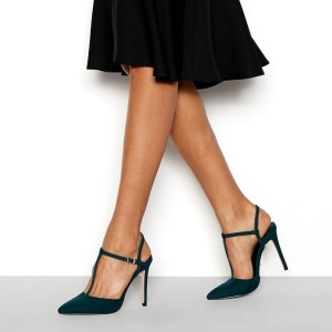 Teal Suede Pointy Toe T Strap Heels