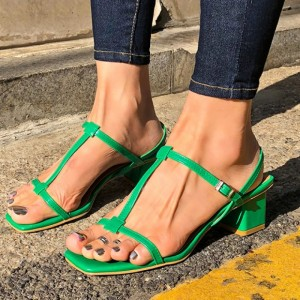 Green T Strap Sandals Open Toe Block Heels Sandals for Women