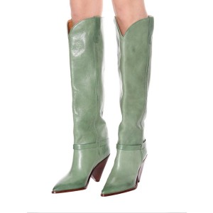 Green Tall Boots Pointy Toe Cone Heel Knee High Boots