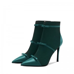 Green Tri Straps Fashion Boots Stiletto Heel Ankle Boots