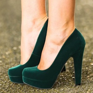 Green Velvet Heels Chunky Heel Closed Toe Platform Pumps