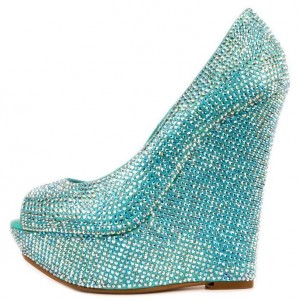 Turquoise Prom Shoes Peep Toe Platform Wedge Pumps with Rhinestone