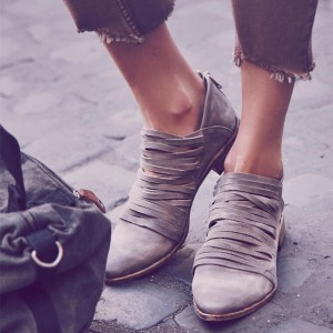 Grey Almond Toe Flat Boots Straps Ankle Boots