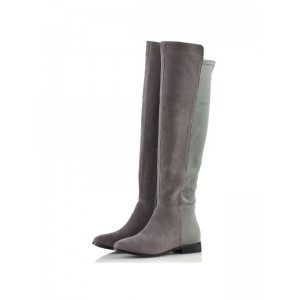 Grey and Green Contrast long Boots Round Toe Flat Knee-high Boots