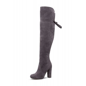 Grey Chunky Heel Boots Over-the-knee Boots