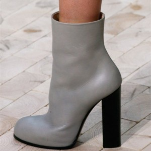 Grey Chunky Heel Boots Round Toe Ankle Booties