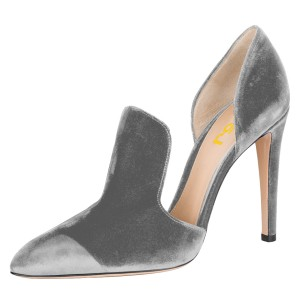 Grey Double D'orsay Pointy Toe Stiletto Heels Pumps