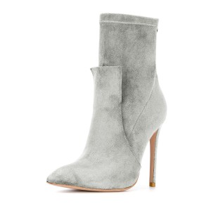 Grey Fashion Zip Stiletto Boots Pointy Toe Suede Ankle Boots By FSJ