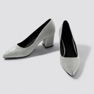Silver Glitter Shoes Block Heel Pumps