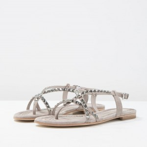 Grey Flat Sandals Open Toe Suede Rhinestone Summer Sandals