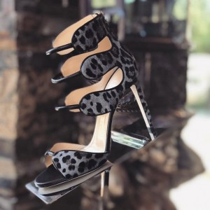 Grey Leopard Print Heels Open Toe  Sexy Ankle Strap Sandals