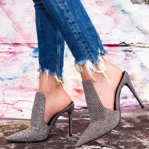Grey Mule Heels Pointy Toe Stiletto Heels for Woman