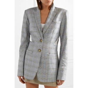 Grey Oversized Checked Wool and Silk-blend Blazer for Women