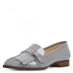 Grey Patent Leather Almond Toe Buckle Fringe Loafers for Women