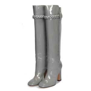 Grey Patent Leather Chunky Heel Boots Square Toe Knee High Boots