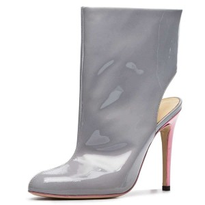 Grey Patent Leather Cut Out Stiletto Heel Ankle Booties