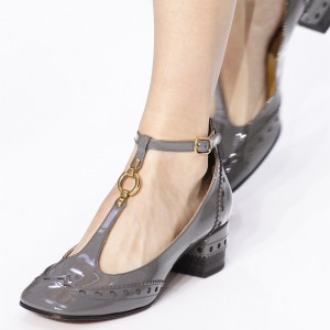 Grey Patent Leather T strap Shoes Block Heel Pumps