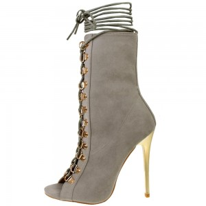 Grey Peep Toe Booties Stiletto Heels Lace up Ankle Boots