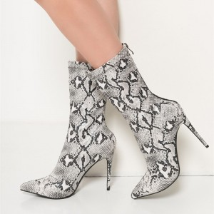 Grey Python Fashion Boots Pointy Toe Stiletto Heels Zip Ankle Boots