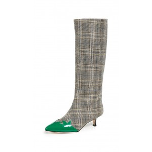Grey Plaid Fabric Kitten Heel Boots Green Pointy Toe Mid Calf Boots