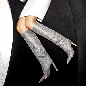 Grey Plaid Straight Stiletto Boots Knee High Boots