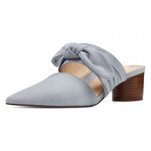 Grey Pointy Toe Mule Heels Block Heel Suede Shoes with Bow