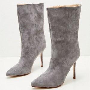 Grey Pointy Toe Stiletto Heel Ankle Booties