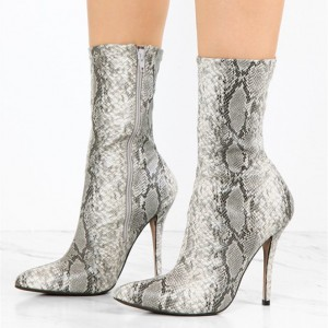 Grey Snakeskin Booties Pointy Toe Stiletto Heel Sock Boots