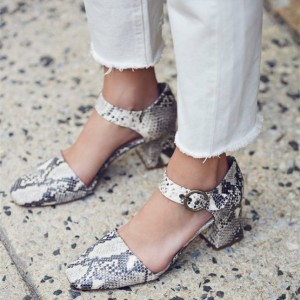 Grey Python Printed Chunky Heels Mary Jane Pumps for Women
