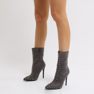 Grey Rivets Suede Fashion Boots Pointy Toe Stiletto Heels Ankle Boots