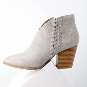 Grey Woven Details Ankle Booties Suede Chunky Heel Boots