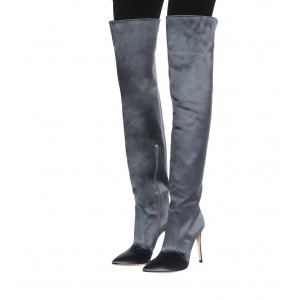 Grey Satin Long Boots Pointy Toe Stiletto Heel Thigh-high Boots