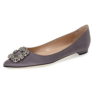 Grey Satin Rhinestone Comfortable Flats