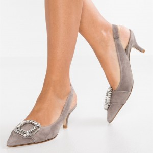 Grey Slingback Heels Pointy Toe Kitten Heel Pumps with Rhinestone