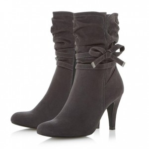 Grey Slouch Boots Fashion Suede Pointy Toe Ankle Booties with Bow