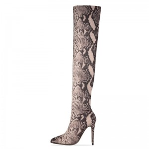 Grey Snakeskin Boots Pointed Toe Stiletto Heel Thigh High Boots