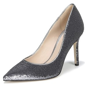 Grey Sparkly Heels Sequined Stiletto Heel Pumps