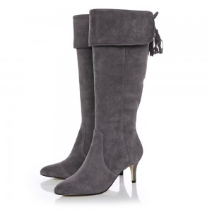 Dark Grey Kitten Heel Boots Foldover Back Laced Suede Knee Boots