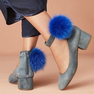 Grey Suede Ankle Strap Heels Pom Pom Chunky Heels Shoes