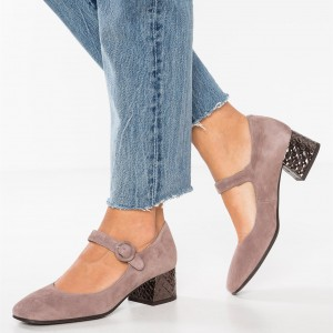 Blush Suede Block Heels Square Toe Mary Jane Pumps for Women