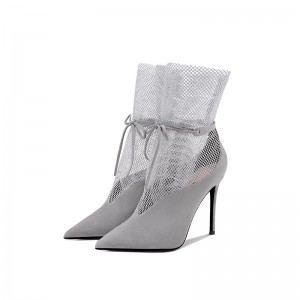 Grey Suede Boots Nets Stiletto Heel Pointy Toe Ankle Boots