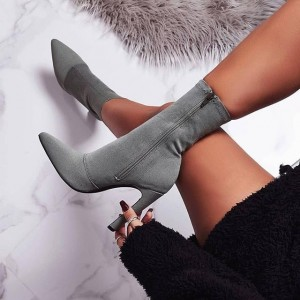 Grey Suede Boots Pointy Toe Chunky Heel Fashion Ankle Boots