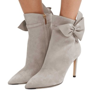 Grey Suede Bow Stiletto Heel Ankle Booties