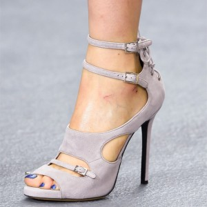 Grey Suede Buckles Peep Toe Ankle Strap Stiletto Heels Sandals