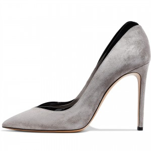 Grey Suede Classic Low Cut Upper Stiletto Heels Pumps
