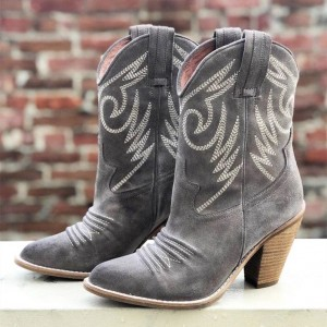 Grey Suede Cowgirl Boots Chunky Heel Mid-Calf Boots