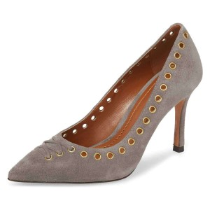 Taupe Suede Holes Stiletto Heels Pumps