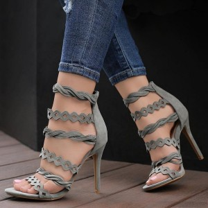 Grey Suede Hollow out Strappy Sandals Stiletto Heel Sandals Sexy Shoes
