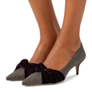 Grey Suede Knot Pointy Toe Kitten Heels Pumps for Women