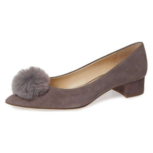 Taupe Suede Shoes Ball Chunky Heel Pumps